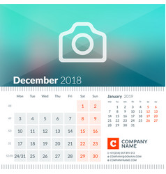 december 2018 calendar for 2018 year week starts vector image