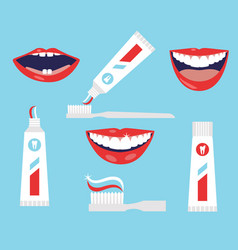 Dental cleaning tools oral care and hygiene vector