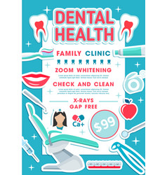 Dental health clinic banner dentistry design vector