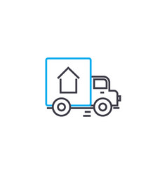 door to door delivery thin line stroke icon vector image