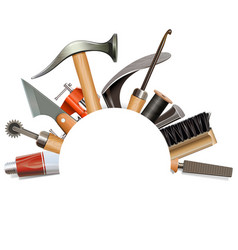 Empty frame with shoemaker tools vector