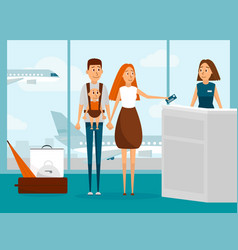 family travel by plane with newborn baby for the vector image