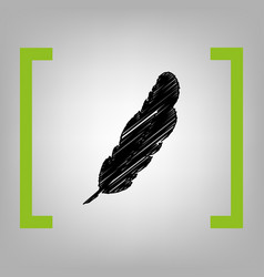 feather sign black scribble vector image