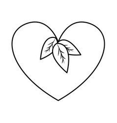 Figure heart with leaves vegan food vector