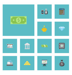 Flat icons strongbox teller machine cash stack vector