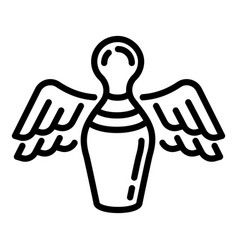 flying bowling pin icon outline style vector image