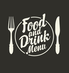 food and drink menu with fork and knife vector image