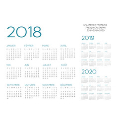 french calendar 2018-2019-2020 vector image