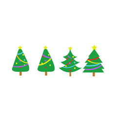 fully decorated simple christmas tree graphic set vector image