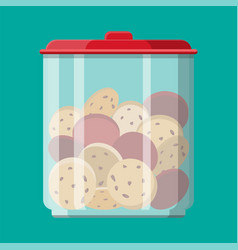 Glass jar with choclate cookies inside vector