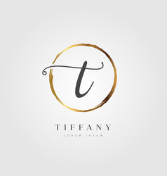 gold elegant initial letter type t vector image