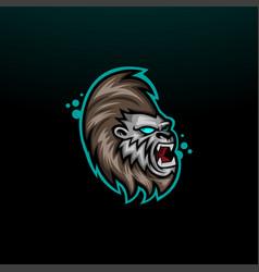 gorilla head mascot logo icon vector image