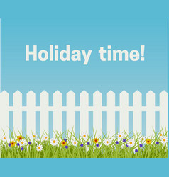 grass and white fence vector image