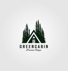 Green cabin vintage logo design with pine tree vector