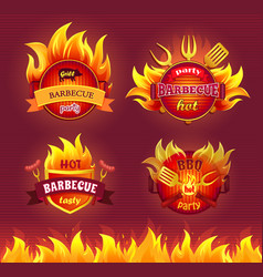 Grill barbecue party hot set vector