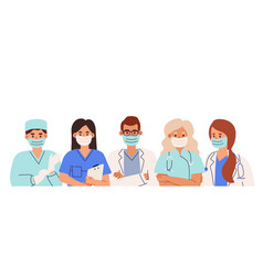 group doctors and nurses in coats and face vector image