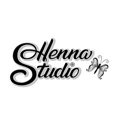 Hand drawn lettering henna studio with shadow vector