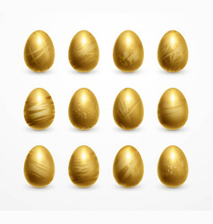 happy easter realistic golden shine decorated eggs vector image