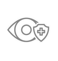 Healthy eye protectetion line icon eye treatment vector