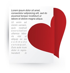 Heart attached to paper vector