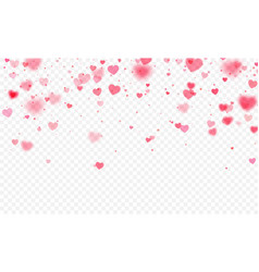Heart confetti falling on transparent background vector