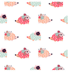 Hedgehogs seamless pattern vector
