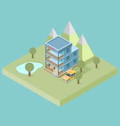 Hotel booking 3d isometric design concept for web vector