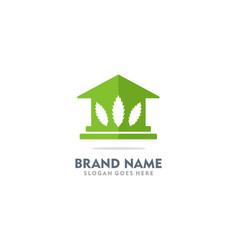 house cannabis green leaf logo vector image