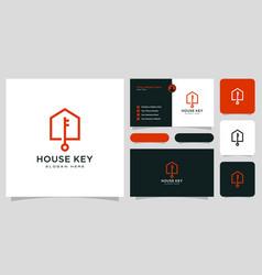 House key logo with business card vector