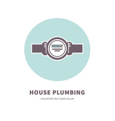 house plumbing agency emblem with water counter vector image vector image
