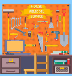 House remodel tools construction concept with vector