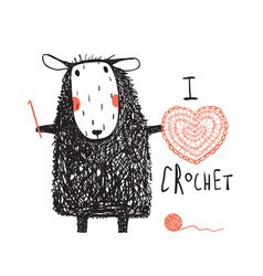 i love crocheting sheep hand drawn design vector image