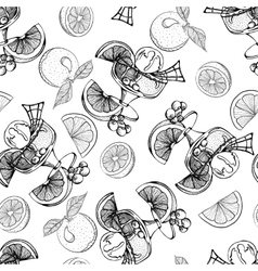 Ice cream with oranges berries Seamless pattern vector