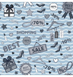 in blue tones pattern on shopping themed design vector image