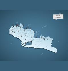 Isometric 3d tunisia map concept vector