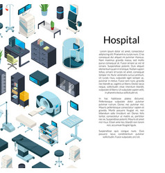 isometric hospital icons background with vector image
