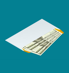 Isometric white envelope with money send money vector