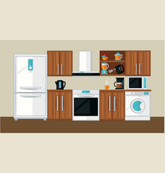 Kitchen interior template vector