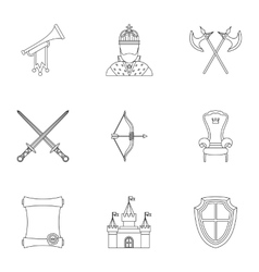 Knight icons set outline style vector