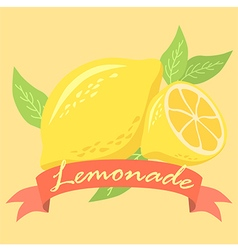 Lemonade Fruit Design Poster with Red Banner vector image