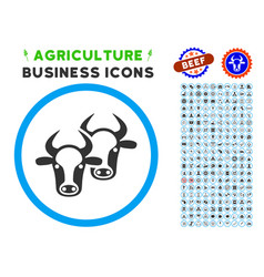 Livestock rounded icon with set vector