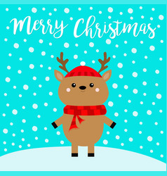 merry christmas cute cartoon kawaii funny deer vector image