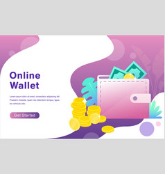online wallet cartoon flat vector image