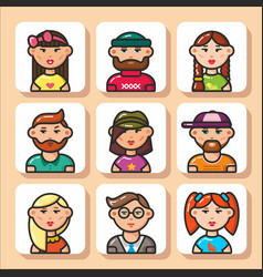 People face icons 11 vector
