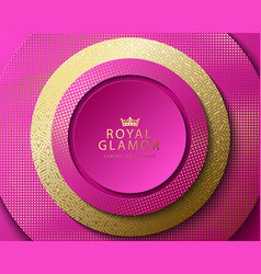 Pink and gold abstract round luxury frame vector