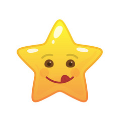 Playful star shaped comic emoticon vector