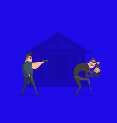 policeman with gun aiming at thief with stolen bag vector image