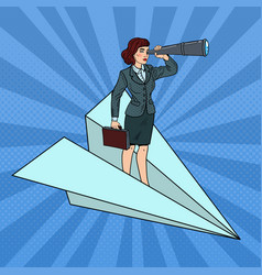 pop art business woman flying on paper plane vector image