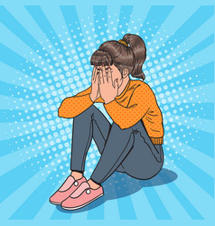 Pop art upset young girl sitting on the floor vector