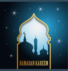 ramadan kareem greeting islamic design with vector image